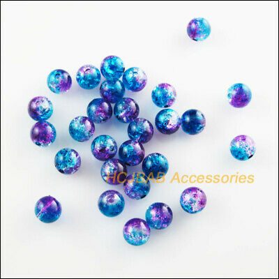 60 New Round Smooth Acrylic Charms Plastic Spacer Beads Colored 8mm