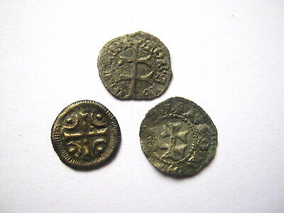 Lot of 3 Medieval Crusades Templar Cross Bronze and Copper Coins 11th -13th Cen.