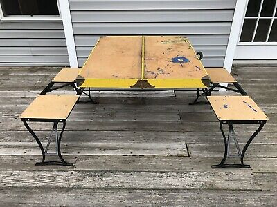 Vintage Handy Folding Picnic Table and Chair Set Metal, Milwaukee Stamping Co