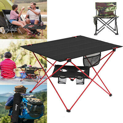 Aluminum Roll Up Table Folding Camping Outdoor Indoor Picnic Beach W/ Chair Bag
