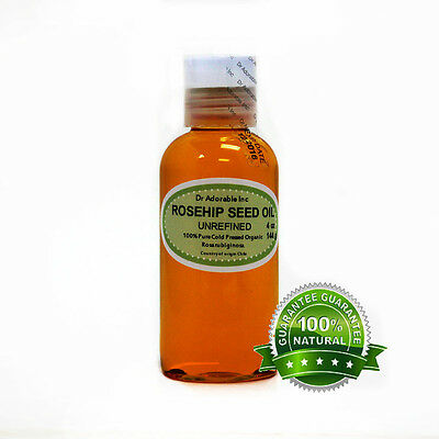 4 Oz Unrefined Rosehip Seed Oil Organic Carrier Oil Cold Pressed 100% Pure