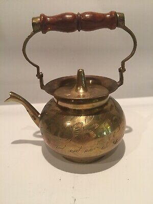 Vintage Copper Tea Kettle With Wooden Handle And Brass Spout