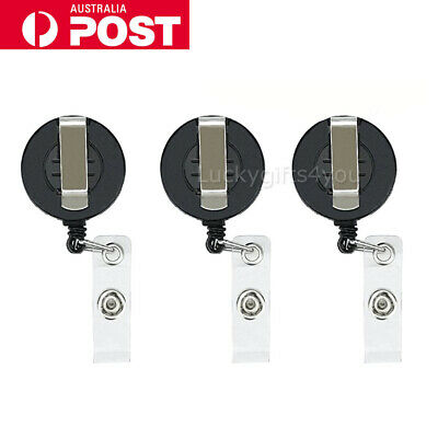 NEW 3X Retractable Badge Holder Reel Card Business Security ID Pull Key Tag Clip