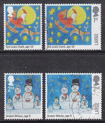 2017 GB Christmas 1st 2nd Large SG 4028-4031 Santa & Snowman Fine Used Stamps