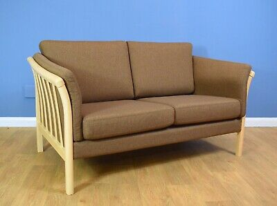 Mid Century Modern Retro Danish Skalma Light Brown Wool 2 Seat Sofa Settee 1990s