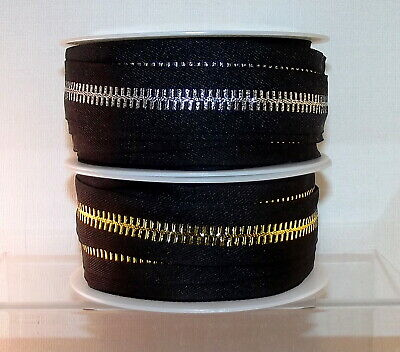 "Imitation 'Looks Like' Zip Ribbon 25mm (1"") wide Sold per Metre Gold or Silver"