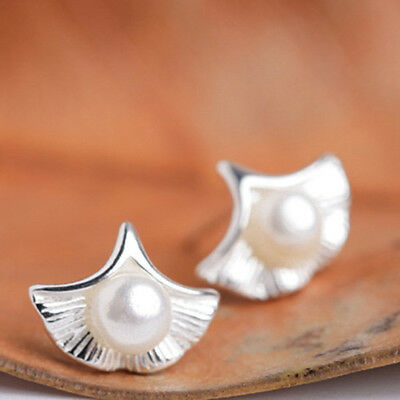 Silver Color Sweet Art Apricot Leaf Shape Faux Pearl Earrings Jewelry Gifts WE
