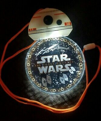 NEW With Tags Disney Parks Star Wars BB-8 DROID Light Up Glow Badge & Lanyard