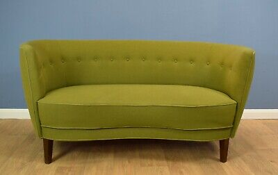 Mid Century Retro Danish Olive Green Wool Curved 'Banana' Sofa Settee 1950s