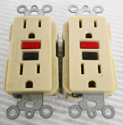 (2) Leviton GFCI R Outlet with Self Test 125V 60Hz 20A Ivory