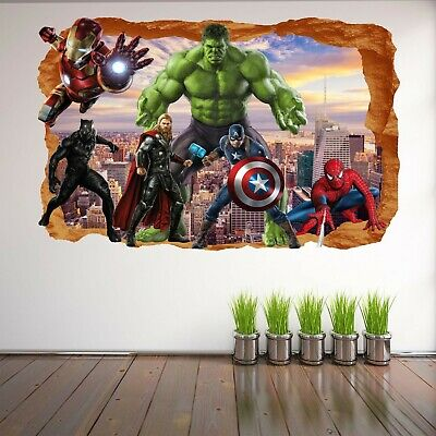 Superheroes Wall Stickers Mural Decal Hulk Spiderman Iron Man Thor Avengers EA78
