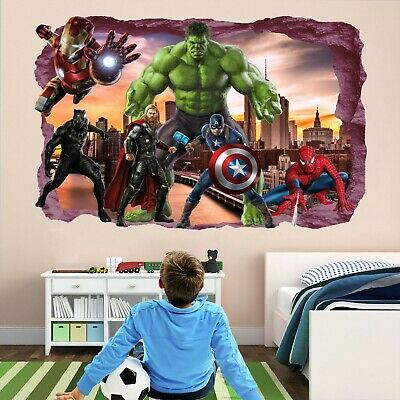 Avengers Superheroes Wall Stickers Mural Decal Hulk Spiderman Iron Man Thor EA79