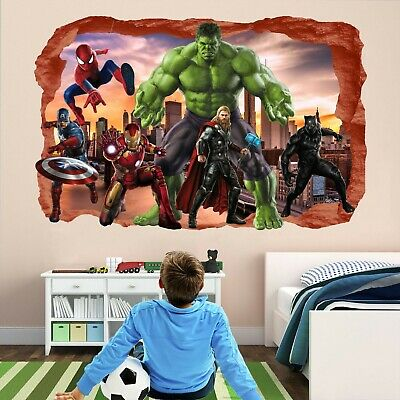 Avengers Superheroes Wall Stickers Mural Decal Hulk Spiderman Iron Man Thor EA80