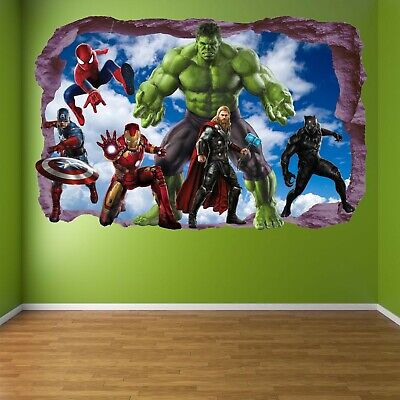 Avengers Super Hero Wall Stickers Mural Decal Hulk Spiderman Iron Man Thor EA81