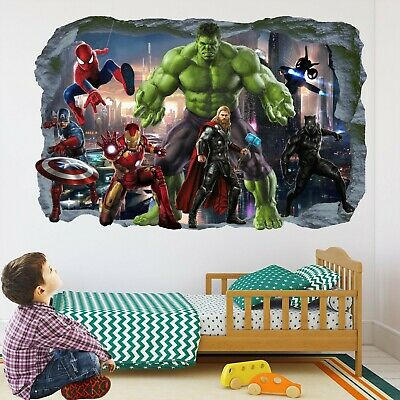 Avengers Superhero Wall Stickers Mural Decal Hulk Spiderman Iron Man Thor EA82