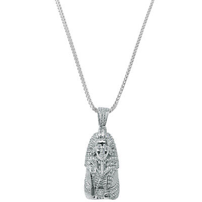 Men Real Sterling Silver Egyptian Pharaoh King Tut Charm Necklace Chain