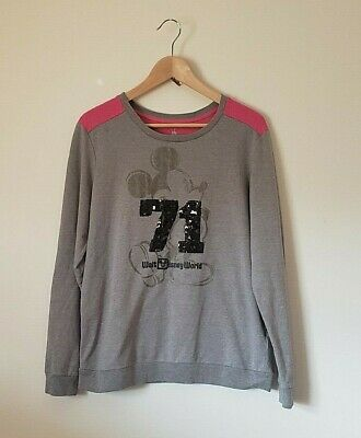 Disney Parks - Women's - Long Sleeve  - Mickey Mouse - Sequined - Grey/Pink - Lg