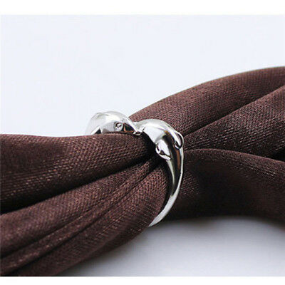 Fashion Xmas Adjustable Rings Plated silver Double Dolphin Opening Gift SW