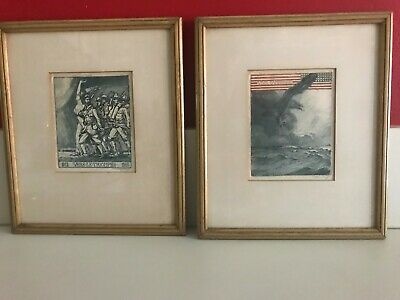 Pair of Antique French WWI Victory Art Prints - Framed, Matted, Signed - Lithos?