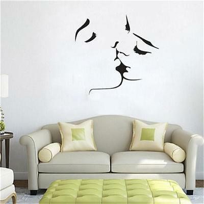 Wall Decals Lovers Kissing Pattern Wall Stickers Removable Bedroom Supplies D