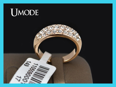 Ring Classic Anillos Mujer Bague Aros Rose Gold Color Rhinestones Studded