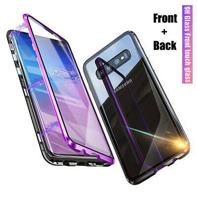 For Samsung Galaxy S10 / Plus Magnetic Adsorption Full Tempered Glass Case Cover