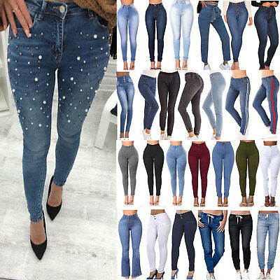 Womens High Waist Stretch Skinny Jeans Denim Trouser Jeggings Pants Legging AU