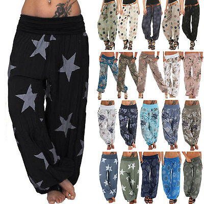 Baggy Gypsy Harem Pants Yoga Boho Womens Floral Loose Trousers Bottoms Plus Size