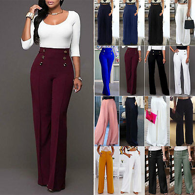 AU Womens Palazzo Wide Leg High Waist Flared Trousers Ladies Party OL Work Pants