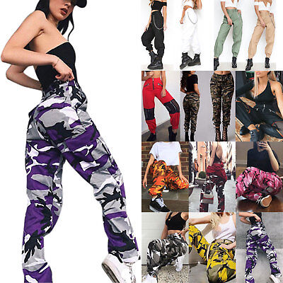 Women Camo Cargo Trouser Hip Hop Pants Military Army Combat Hiking Bottom Dance