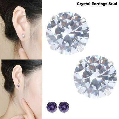 Ladies 925 Silver Classic Clear Crystal Lab Diamond Cutting Stud Earrings Gift