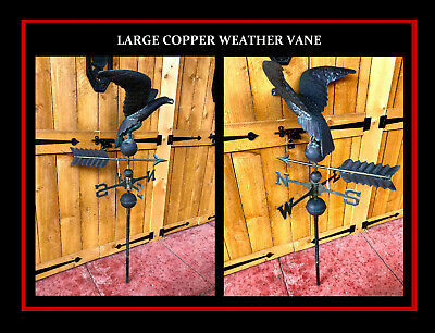 "VINTAGE PATINA'D Copper Weathervane Eagle/Hawk Weather Vane 48"" tall"