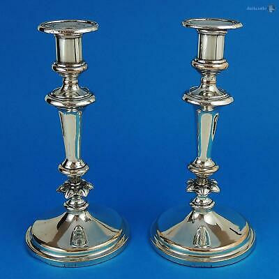 Quality PAIR William IV OLD SHEFFIELD PLATE CANDLESTICKS c1835 J Dixon & Sons