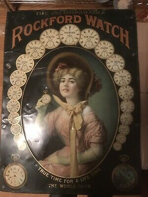 Antique Rare Early 1900's Rockford Watch Sign