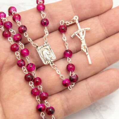 "Red Marble Pattern Glass Beads Rosary 20"" Long Necklace Madonna Centerpiece"