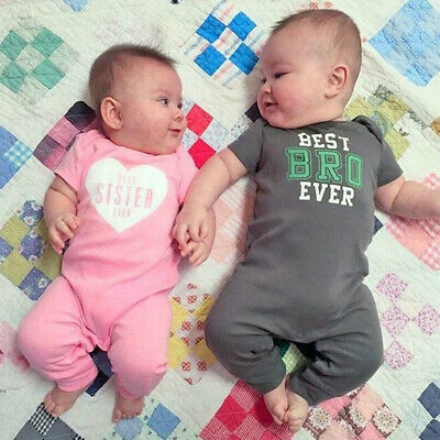 USA Baby Boy Girl Little Brother/Sister Romper Jumpsuit Matching Clothes Sunsuit