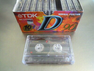 Lotto 10 Cassette Audio Vergini Tdk D 90 Tape New Type I Normal No Etichette
