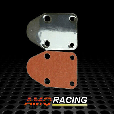 SBC Black Fuel Pump Block Off Plate With Gasket 283 327 350 383 400 SB Chevy