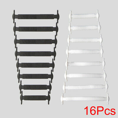 16Pcs No Tie Shoelaces Rubber Silicone Slips Easy Sneaker Shoe Laces Adult Kid