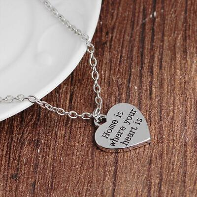 Heart Shaped Letter Pendant Home Is Where Your Heart Is Necklace Jewelry LA