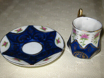 Puppengeschirr Teller +Tasse Adam Gold Collection Puppenservice Blau Gold