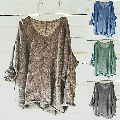 Womens Plus Size Oversized Sweater Knit Tops Blouse Jumper Tops Shirt Tee Loose