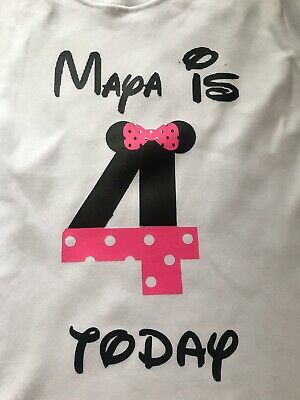Disney Minnie Mouse Four Birthday Tshirt 4th Four Outfit Boys Girls Age Top 4