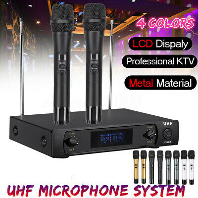 Professional Wireless Microphone System UHF 2 Channel Dual Handheld Mic Karaoke