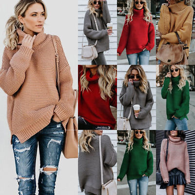 Womens Knitted Loose Sweater Jumper Turtle Neck Long Sleeve Warm Pullover Tops