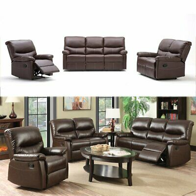 Stupendous Luxury Leather 3 2 1 Seater Recliner Sofas Brown 3 Piece Andrewgaddart Wooden Chair Designs For Living Room Andrewgaddartcom