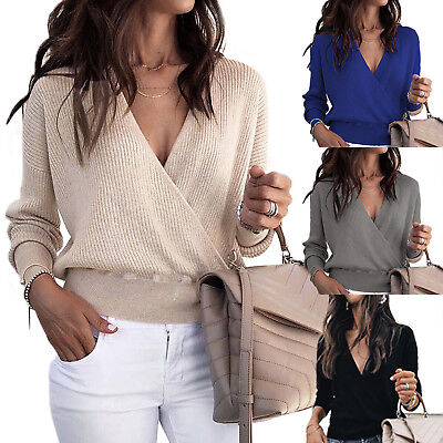 Womens Wrap V Neck Sweater Long Sleeve Tunic Blouse Chunky Knitted Jumper Tops
