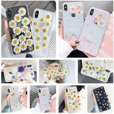 Cute Dried Flower Pattern Soft Thin Rubber Case Cover For iPhone Xs Max X 8 Plus