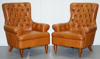 Matching Pair Of Tan Brown Leather Chesterfield Buttoned Comfortable Armchairs