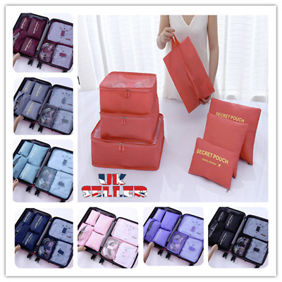 7 Pieces Organiser Set Luggage Suitcase Storage Bags Packing Travel Cubes UK